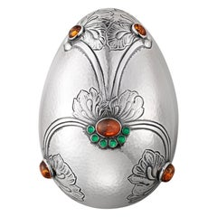 Georg Jensen Handcrafted Sterling Silver Egg by Gj Amber/Gr. Agate