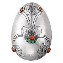 Georg Jensen Handcrafted Sterling Silver Egg by Gj Amber/Gr. Agate