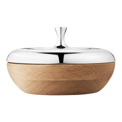 Georg Jensen HK Turnip Bonbonniere in Steel and Oak Wood by Henning Koppel