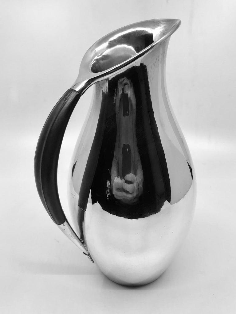 Art Deco Georg Jensen Johan Rohde Pitcher 432E Ebony Handle For Sale
