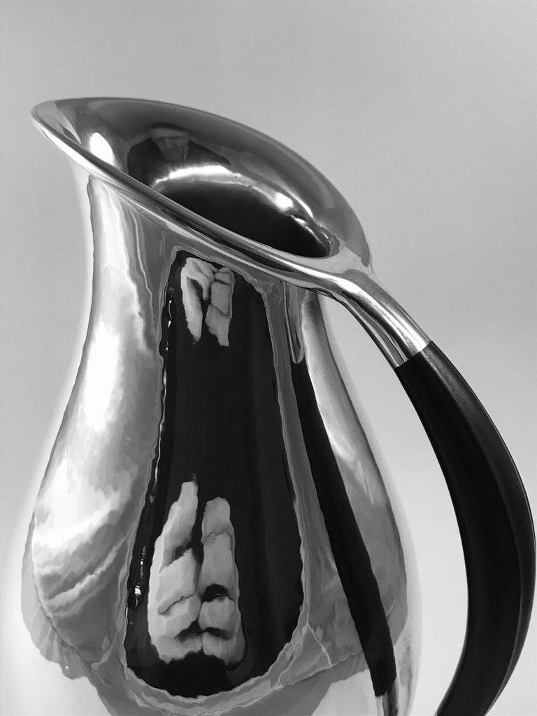 Hammered Georg Jensen Johan Rohde Pitcher 432E Ebony Handle For Sale
