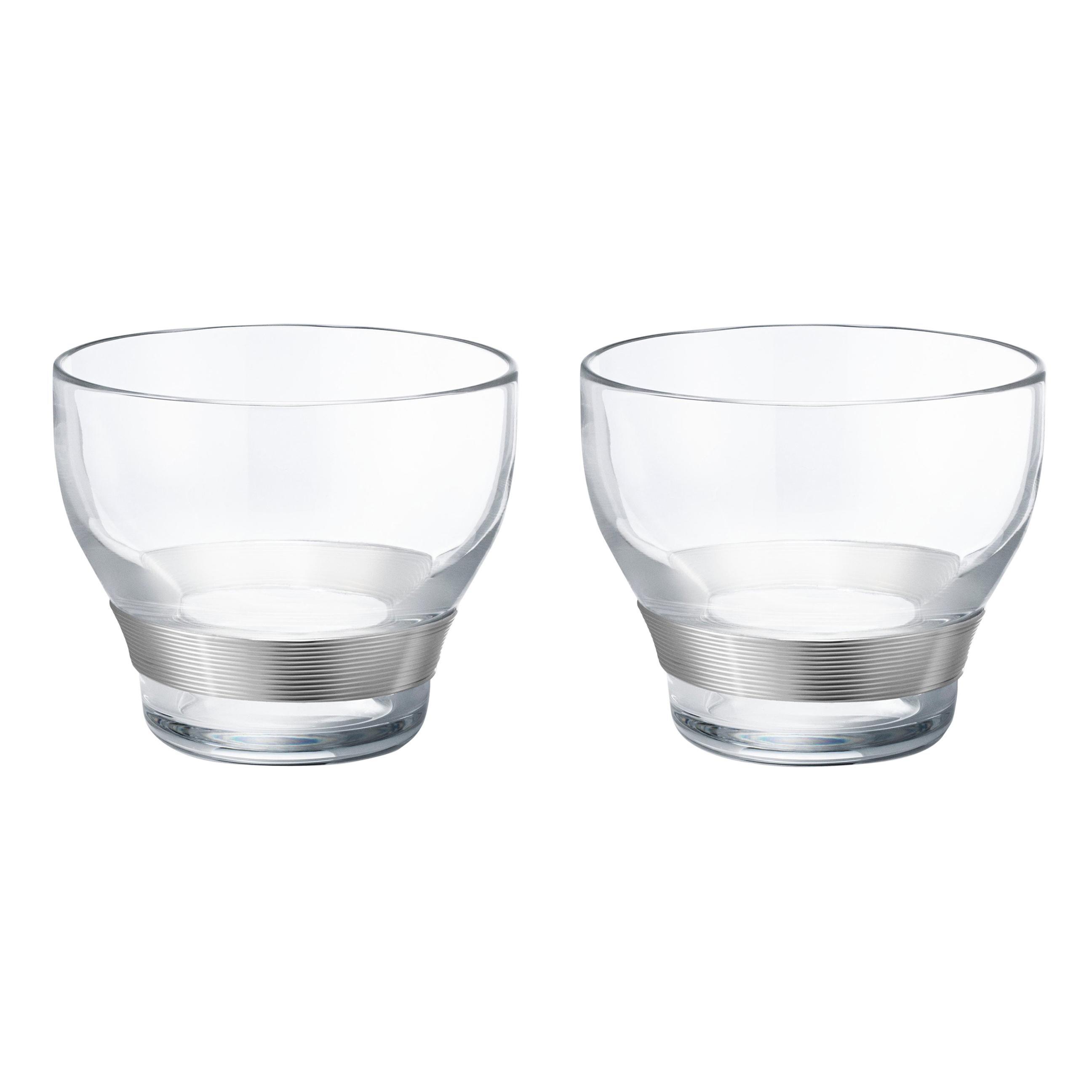 Georg Jensen Koppel Crystal Glass and Silver Two-Piece Glass Set, Henning Koppel