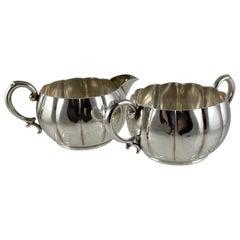 Georg Jensen La Paglia Danish Modernist Sterling Silver Cream & Sugar Set, 1940s