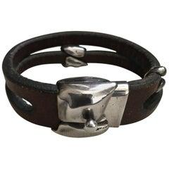 Georg Jensen Leather and Sterling Silver Bracelet No. 310 by Anette Kræn