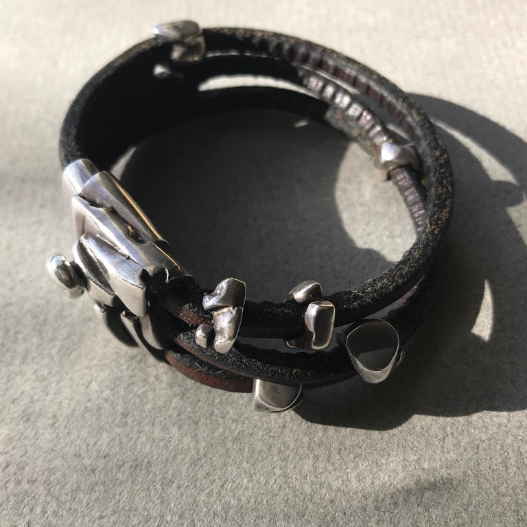 Artist Georg Jensen Leather and Sterling Silver Bracelet No. 311 by Anette Kræn For Sale