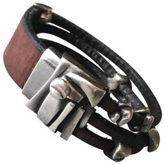 Georg Jensen Leather and Sterling Silver Bracelet No. 311 by Anette Kræn