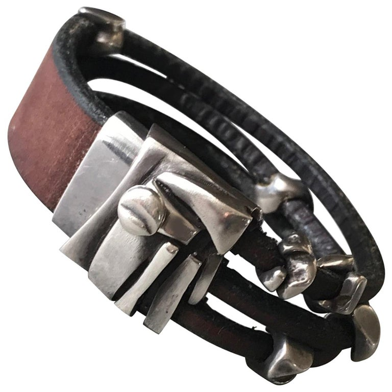 Georg Jensen Leather and Sterling Silver Bracelet No. 311 by Anette Kræn For Sale