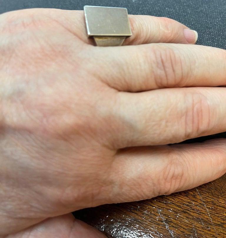 Modernist Georg Jensen Men's Signet Sterling Silver Ring # 84C Denmark Estate Find For Sale