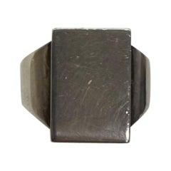 Georg Jensen Men's Signet Sterling Silver Ring # 84C Denmark Estate Find