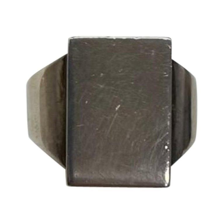Georg Jensen Men's Signet Sterling Silver Ring # 84C Denmark Estate Find For Sale