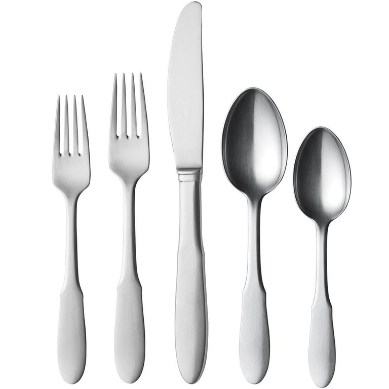 Stainless steel cutlery set with a dinner fork, dinner spoon, long dinner knife, starter fork and tea spoon.