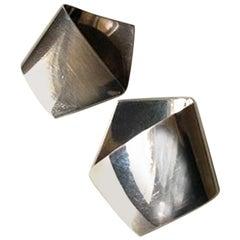 Georg Jensen Modern Sterling Silver Pentagon Shaped Earrings No 202