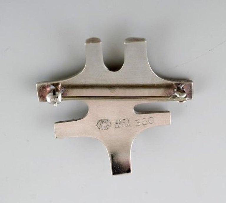 Women's Georg Jensen Modernist Brooch in Sterling Silver For Sale