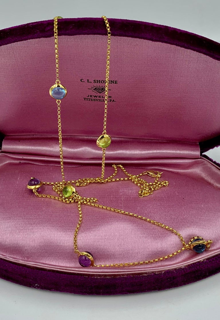 Georg Jensen Moonrise Sautoir Necklace 1567 18 Karat Gold Topaz Peridot Amethyst In Good Condition For Sale In New York, NY