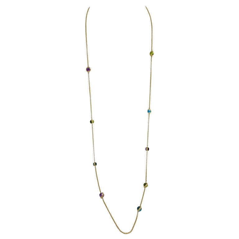 Georg Jensen Moonrise Sautoir Necklace 1567 18 Karat Gold Topaz Peridot Amethyst For Sale