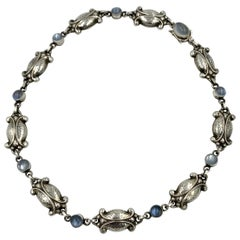 Georg Jensen Moonstone Moonlight Blossom Necklace Vintage Sterling No. 15