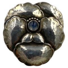 Georg Jensen Moonstone Pansy Brooch Vintage Sterling No. 113
