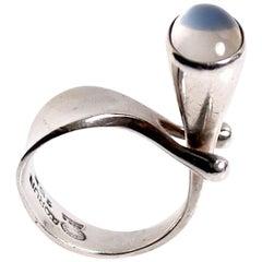 Georg Jensen Moonstone Ring Designed by Vivianna Torun Bulow-Hube Denmark