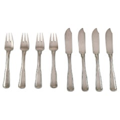 Georg Jensen Old Danish Fish Cutlery in Sterling Silver. Set for Four People