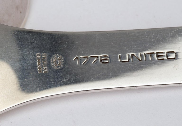 Modern Georg Jensen Pair of Danish Silver American Independence Commemorative Spoons For Sale