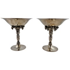 Georg Jensen Pair of Sterling Grape Tazzas, 263B