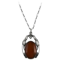 Georg Jensen Pendant #49 with Large Amber Stone