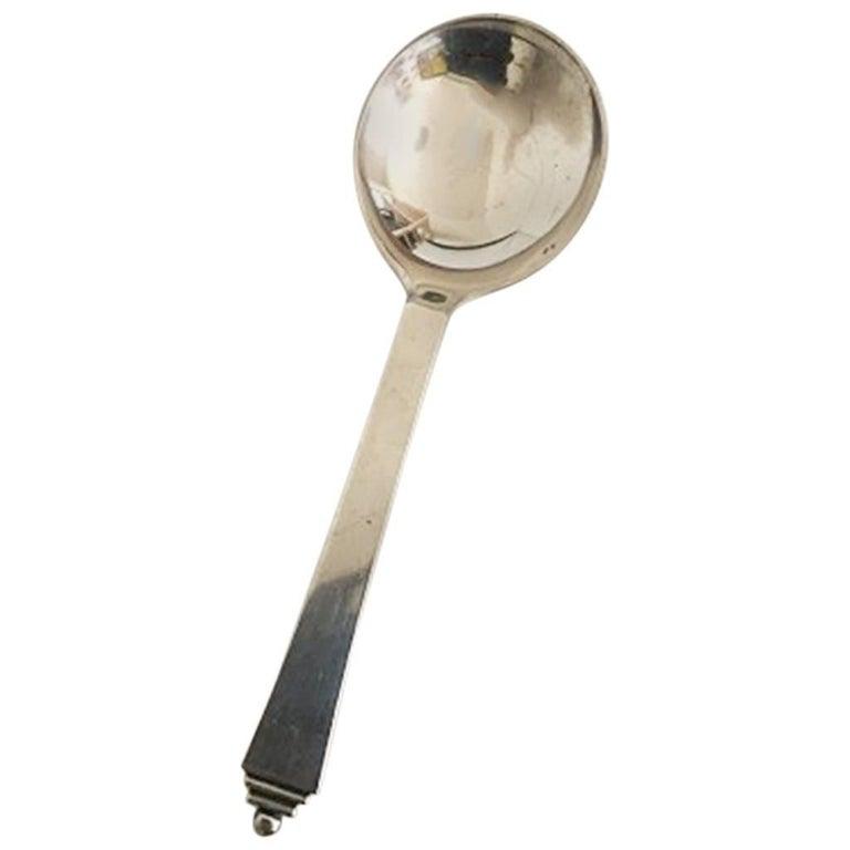 Georg Jensen Pyramid Sterling Silver Bouillon Spoon No 053 For Sale