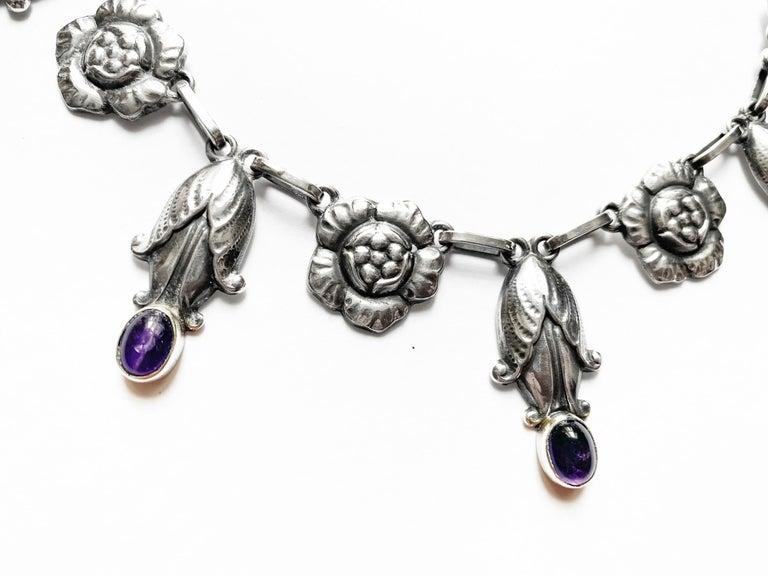 Art Nouveau Georg Jensen Rare Design Sterling Amethyst Necklace C.1930 For Sale