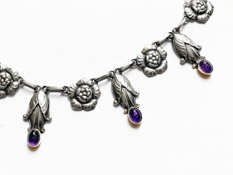 Danish Georg Jensen Rare Design Sterling Amethyst Necklace C.1930 For Sale