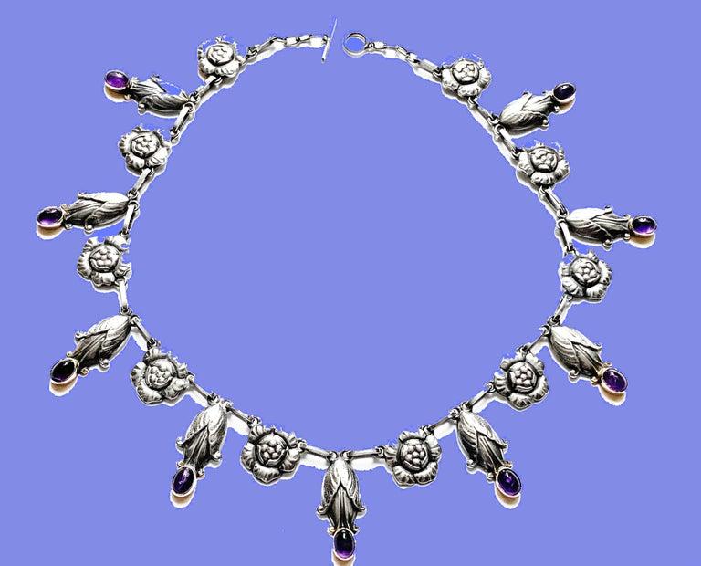 Georg Jensen Rare Design Sterling Amethyst Necklace C.1930 For Sale 1