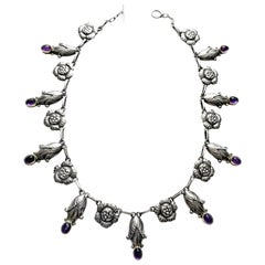 Georg Jensen Rare Design Sterling Amethyst Necklace C.1930