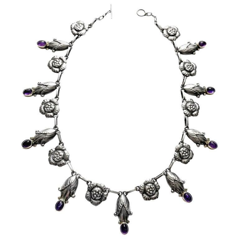 Georg Jensen Rare Design Sterling Amethyst Necklace C.1930 For Sale