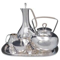 Georg Jensen Sigvard Bernadotte Sterling Silver Tea Set 5pc Modern #1015