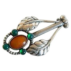 Georg Jensen Silver Brooche #7 with Amber and Green Agates