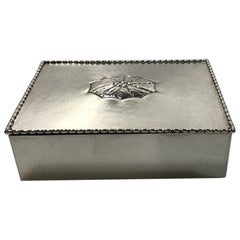 Georg Jensen Silver Cigar Box/Lidded Box Wood Lined No. 195, 1915-1927