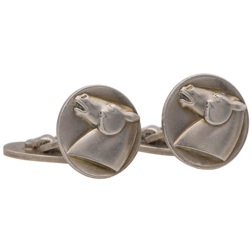 Georg Jensen Silver Horse Cufflinks and Tie Clip Set