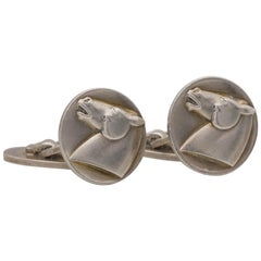 Georg Jensen Silver Horse Cufflinks and Tie Clip Set