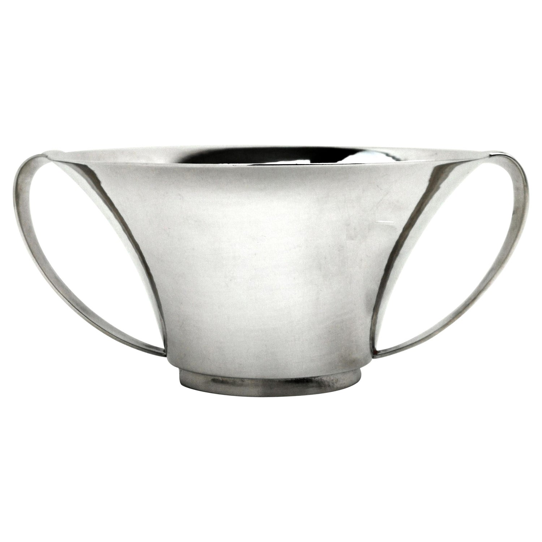 Georg Jensen Silver Porringer / Two Handles Bowl Denmark, circa 1945-1977