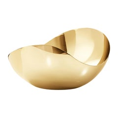 Georg Jensen Stainless Steel Gold Bloom Tall Large Bowl by Helle Damkjær