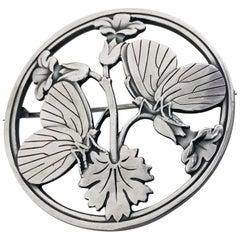 Georg Jensen Sterling Butterfly Brooch, Design Arno Malinowski, 1950s