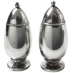 Georg Jensen Sterling Cactus Sterling Silver Salt and Pepper Shakers Signed 629A