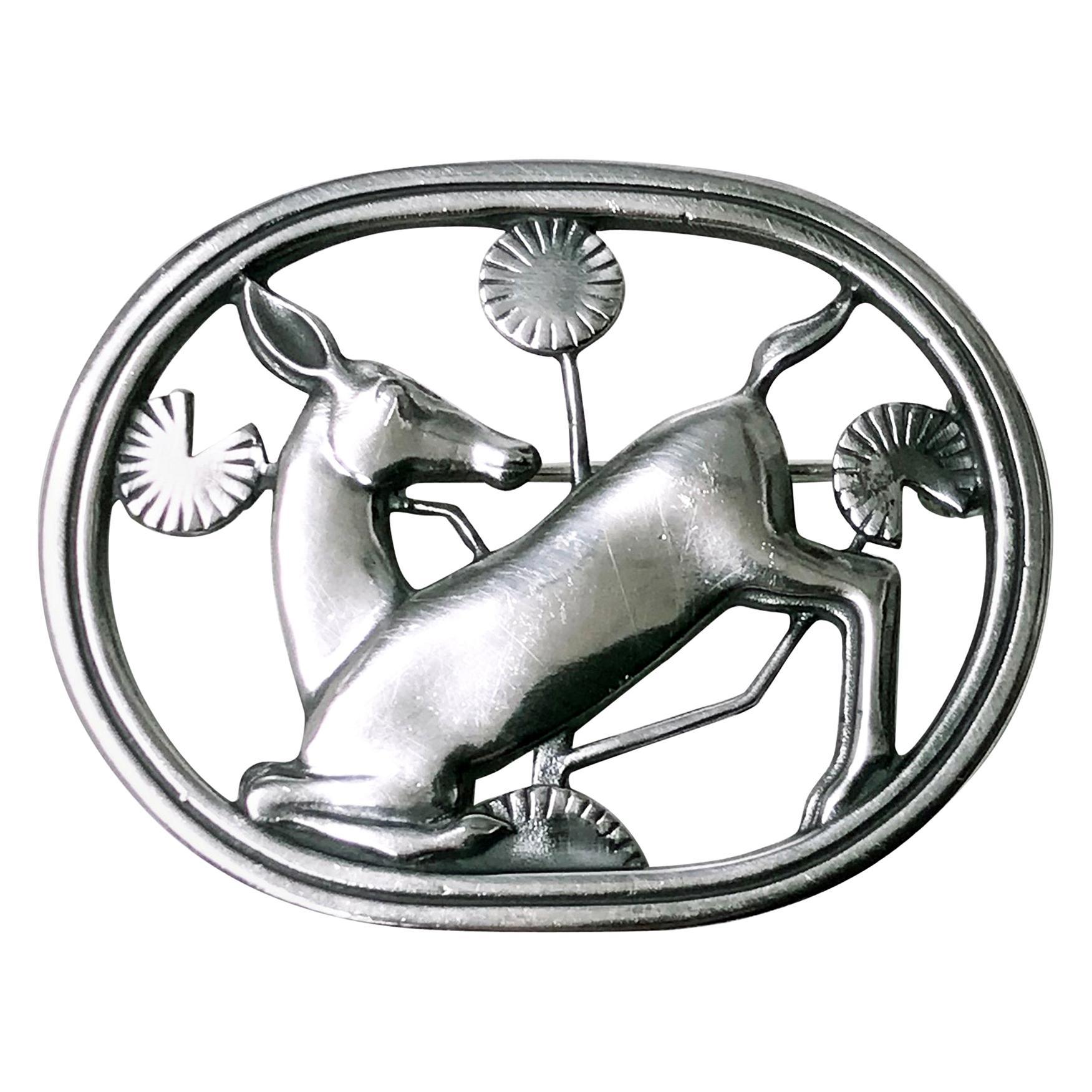 Georg Jensen Sterling Deer Brooch, Designed by Arno Malinowski