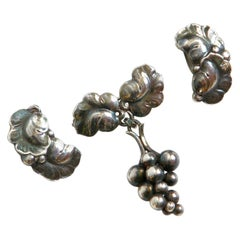 Georg Jensen Sterling Grapes and Leaves Brooch and Earrings Made in Denmark