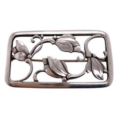Georg Jensen Sterling Leaf Brooch