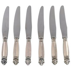 Georg Jensen Sterling Silver Acanthus, Set of Six Dinner Knives