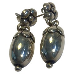 "Georg Jensen Sterling Silver ""Acorn"" Earrings No 4"