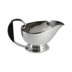 Georg Jensen Sterling Silver Art Deco Sauce Boat with Ebony Handle, No.766 by Gu