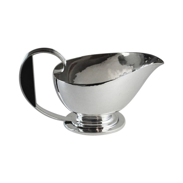 Georg Jensen Sterling Silver Art Deco Sauce Boat with Ebony Handle, No.766 by Gu For Sale
