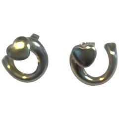 Georg Jensen Sterling Silver Artist Heart Ear Studs 2002, Regitze Overgaard