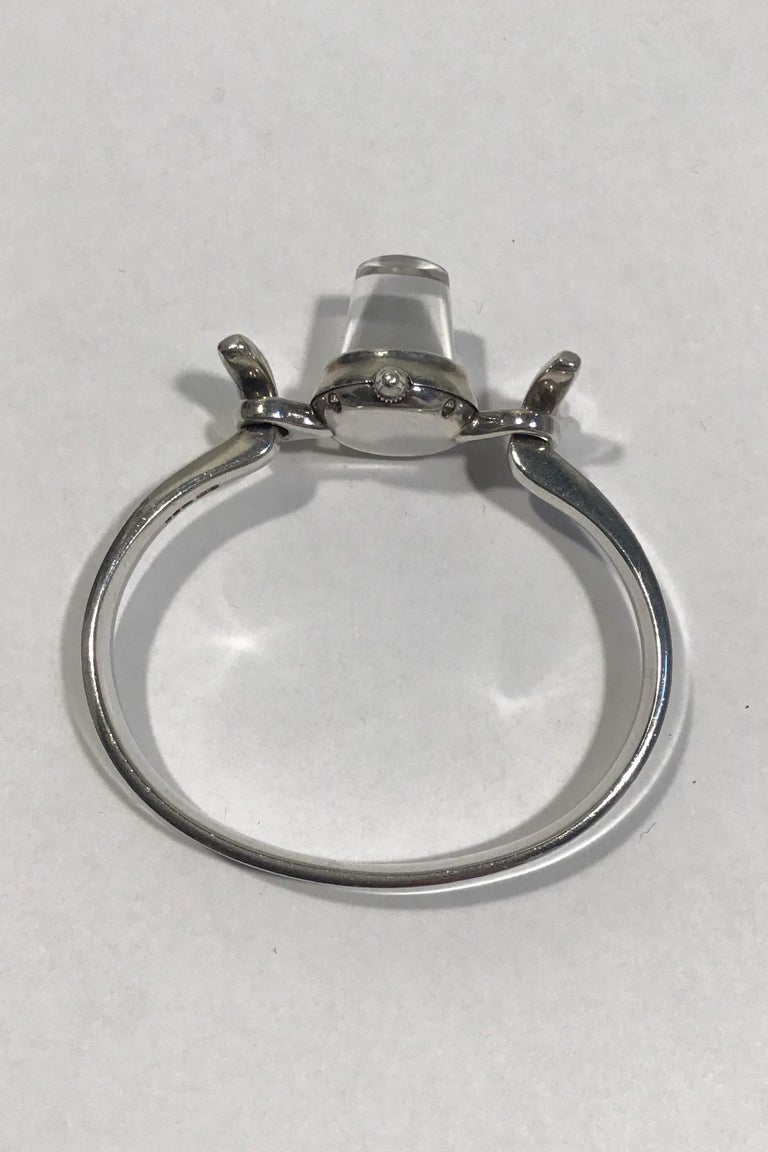 Georg Jensen Sterling Silver Bangle Watch with Rock Crystal Face No 231 In Good Condition For Sale In Copenhagen, DK